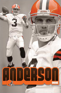 "Derek Anderson ""Throwback"" Cleveland Browns QB Action Poster - Costacos 2008"