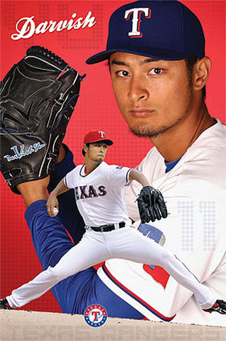 "Yu Darvish ""Ace"" Texas Rangers MLB Baseball Action Poster - Costacos 2013"
