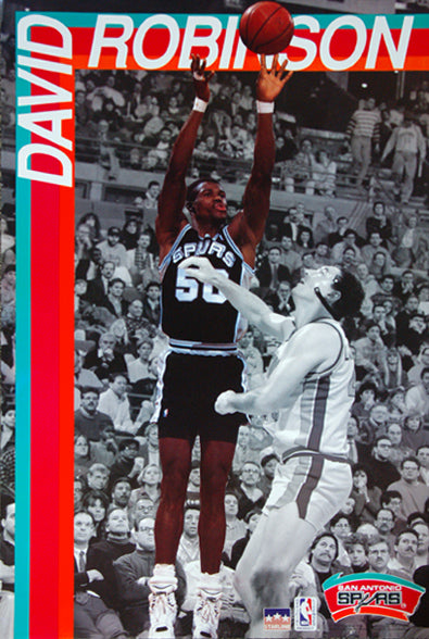 David Robinson vs. Bill Laimbeer San Antonio Spurs NBA Action Poster - Starline Inc. 1991