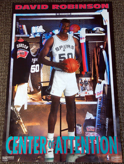 "David Robinson ""Center of Attention"" San Antonio Spurs Poster - Costacos Brothers 1991"