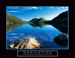 "Mountain Lake ""Dedication"" Motivational Poster - Front Line"
