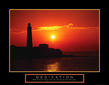 "Lighthouse at Sunset ""Dedication"" Motivational Inspirational Poster - Front Line"