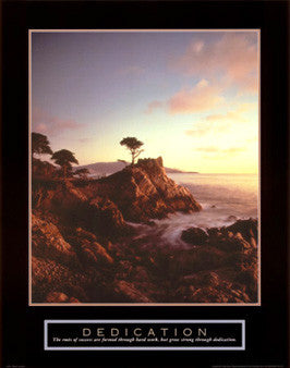 "Lone Cypress Tree ""Dedication"" Motivational Poster - Front Line"