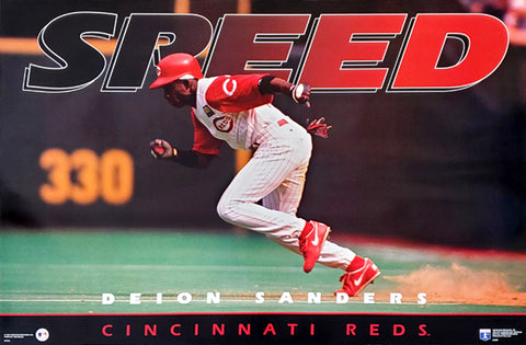 "Deion Sanders ""SPEED"" Cincinnati Reds MLB Action Poster - Costacos Brothers 1994"