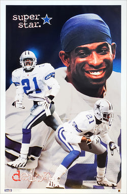 "Deion Sanders ""Superstar"" Dallas Cowboys NFL Football Poster - Costacos Brothers 1995"