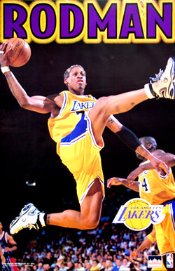 "Dennis Rodman ""Golden Fly"" Los Angeles Lakers Poster - Starline Inc. 1999"