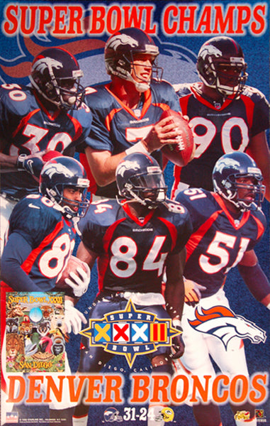 Denver Broncos Super Bowl XXXII Champions (1998) Commemorative Poster - Starline Inc.