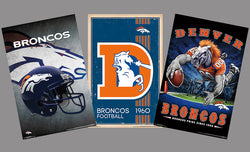 COMBO: Denver Broncos NFL Football Team Logo Theme Art 3-Poster Combo Set
