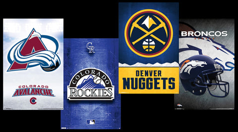 COMBO: Denver, Colorado Sports 4-Poster Combo Set (Avalanche, Nuggets, Broncos, Rockies)