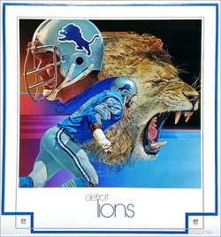 Detroit Lions 1979 NFL Theme Art Poster by Chuck Ren - DAMAC Inc.