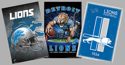 COMBO: Detroit Lions Football NFL Theme Art 3-Poster Combo Set - Trends International