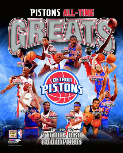Detroit Pistons All-Time Greats (11 Legends, 3 Championships) Premium Poster Print - Photofile