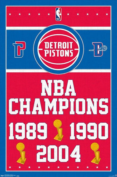 Detroit Pistons 3-Time NBA Champions Commemorative Wall Poster - Costacos