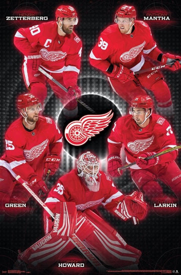 "Detroit Red Wings ""Big Five"" Poster (Zetterberg, Mantha, Larkin, Howard, Green) - Trends 2017-18"