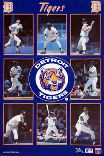 "Detroit Tigers ""Superstars"" 8-Player MLB Action Poster (1987) - Starline Inc."