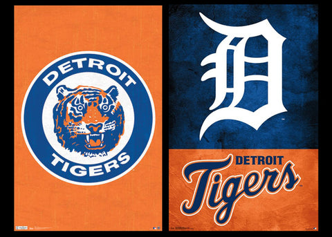 Detroit Tigers MLB Baseball Team 2-Poster Combo (Retro & Modern Styles) - Trends International