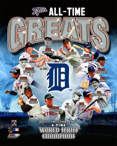 "Detroit Tigers ""All-Time Greats"" (13 Legends) Premium Poster Print - Photofile Inc."