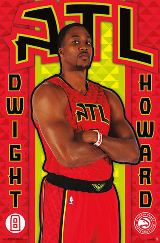 "Dwight Howard ""Flight 8"" Atlanta Hawks NBA Basketball Poster - Trends International 2016"