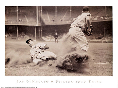 "Joe DiMaggio ""Sliding Into Third"" (1946) New York Yankees Poster - NYGS"
