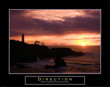 "Lighthouse at Sunset ""Direction"" Motivational Poster - Front Line"