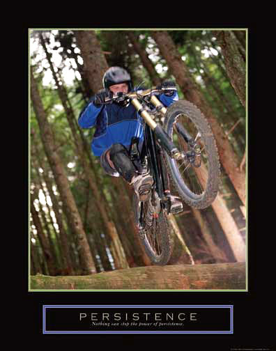 "Off-Road Mountain Biking ""Persistence"" Motivational Poster - Front Line"