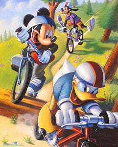 Donald, Mickey and Goofy Mountain Biking Poster - OSP Publishing
