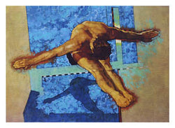 Diving Glory (10m Platform) Olympic Classic Poster Print by C. Michael Dudash - Front Line Art Publishing
