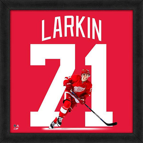 "Dylan Larkin ""Number 71"" Detroit Red Wings FRAMED 20x20 UNIFRAME PRINT - Photofile"