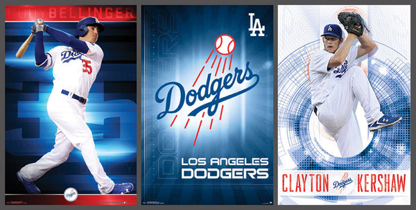COMBO: Los Angeles Dodgers 3-Poster Combo Set (Cody Bellinger, Clayton Kershaw, Team Logo)