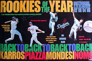 L.A. Dodgers Rookies of the Year 1992-95 Commemorative Poster - Norman James Corp. 1996