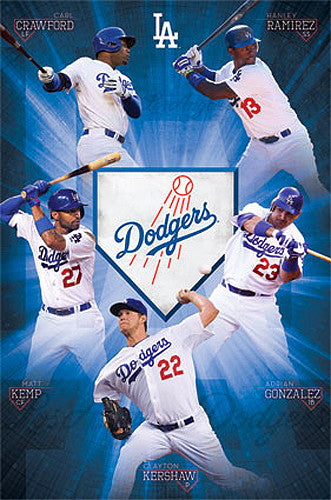 "L.A. Dodgers ""Super Five"" (2013) MLB Baseball Action Poster - Costacos 2013"
