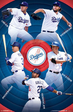 Los Angeles Dodgers Superstars 2017 POSTER (Urias, Kershaw, Seager, Gonzalez, Pederson)