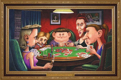 """Dogs"" Playing Poker (Ugly Chicks) - Aquarius Inc."