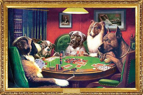 """A Bold Bluff"" (Dogs Playing Poker) - Aquarius Images"
