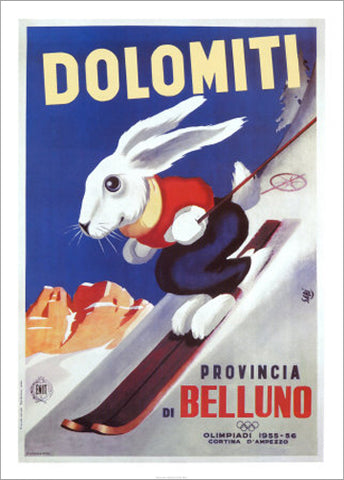 Dolomiti Ski Bunny (Italy 1955) Vintage Skiing Poster Reprint - Editions Clouets