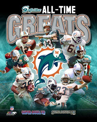 "Miami Dolphins ""All-Time Greats"" (9 Legends, 2 Super Bowls) Premium Poster Print - Photofile Inc."