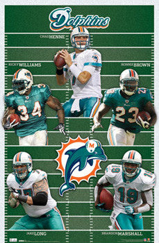 "Miami Dolphins ""Gridiron Five"" (2010) Official NFL Football Poster - Costacos Sports"