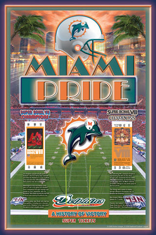 "Miami Dolphins ""History of Victory"" 2-Time Super Bowl Champions Poster - Action Images"