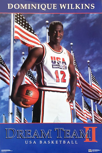 "Dominique Wilkins ""Dream Team II"" 1996 Team USA Olympic Basketball Poster - Costacos Brothers 1996"