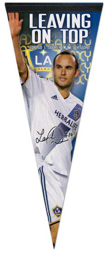 "Landon Donovan ""Leaving On Top"" MLS Los Angeles Galaxy Soccer Premium Felt Pennant - Wincraft"