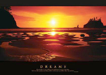 "Ocean Sunset at Low Tide ""Dreams"" Motivational Poster - Pyramid 2004"