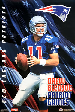 "Drew Bledsoe ""Patriot Games"" New England Patriots Poster - Costacos Brothers 1993"