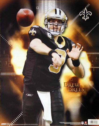 "Drew Brees ""On Fire"" (2009) New Orleans Saints NFL Action Poster - Costacos 16x20"
