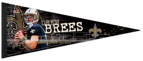 Drew Brees Signature Action Series New Orleans Saints NFL Football Premium Felt Pennant - Wincraft Inc.