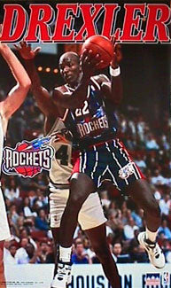 "Clyde Drexler ""Rocket"" Houston Rockets NBA Action Poster - Starline 1996"