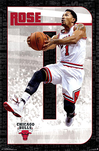 "Derrick Rose ""Drive"" Chicago Bulls NBA Basketball Action Poster - Costacos 2014"