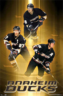 "Anaheim Ducks ""Three Legends"" (Selanne, Niedermayer, Pronger) Poster - Costacos 2006"