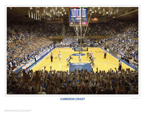 "Duke Basketball ""Cameron Crazy"" Cameron Indoor Stadium Game Night Poster Print - SPI"