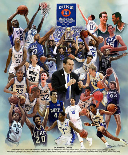 "Duke Blue Devils Basketball ""26 Legends"" Commemorative Print - Wishum Gregory"