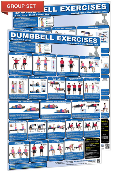 Dumbbell Exercises Workout 2-Poster Professional Wall Chart Combo - Productive Fitness